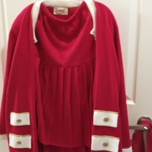 Knit red and white pleated skirt with jacket